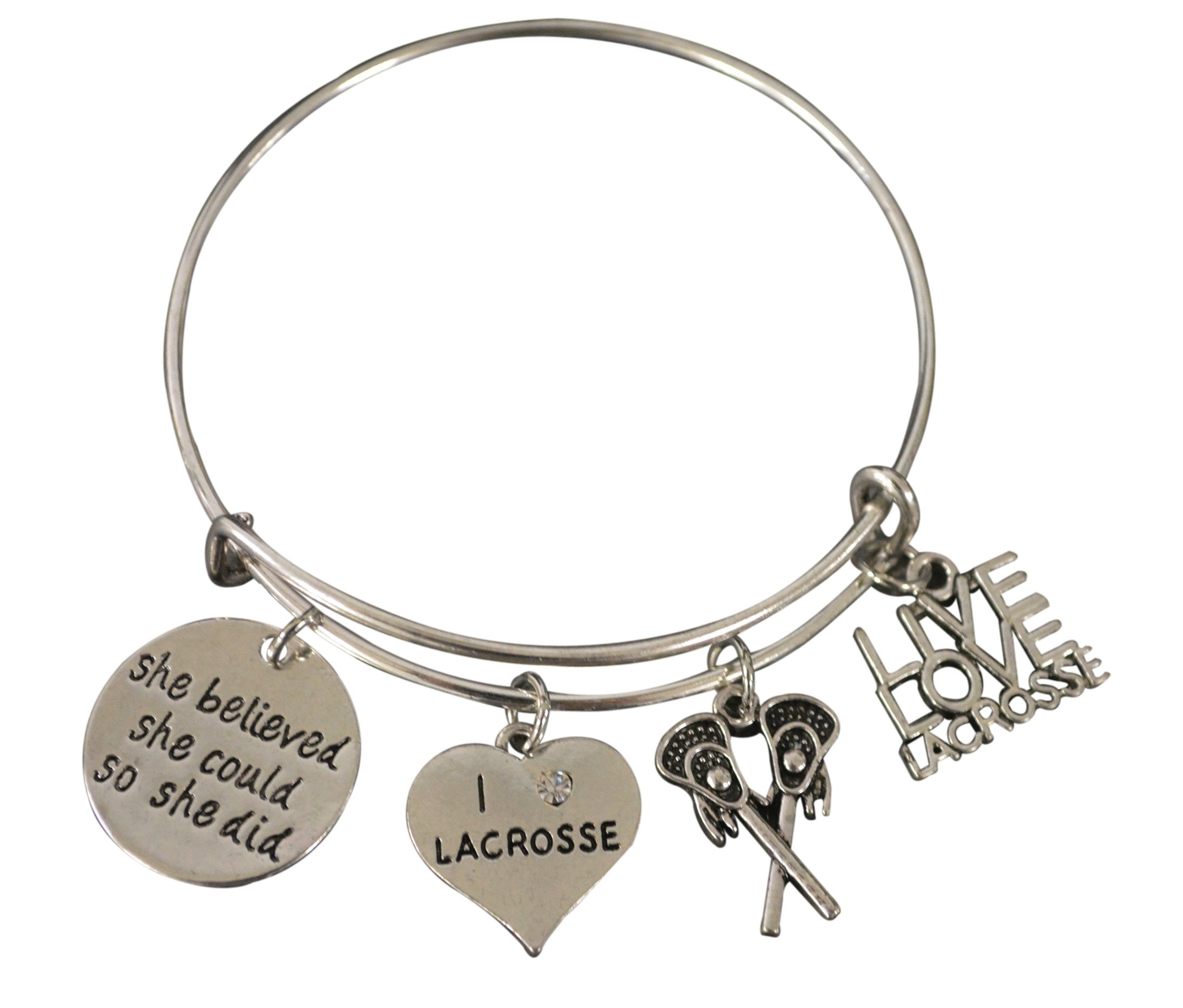 Infinity Collection Lacrosse Charm Bangle Bracelet, Girls Lacrosse She Believed She Could So She Did Jewelry Lacrosse Gifts For Female Lacrosse Players