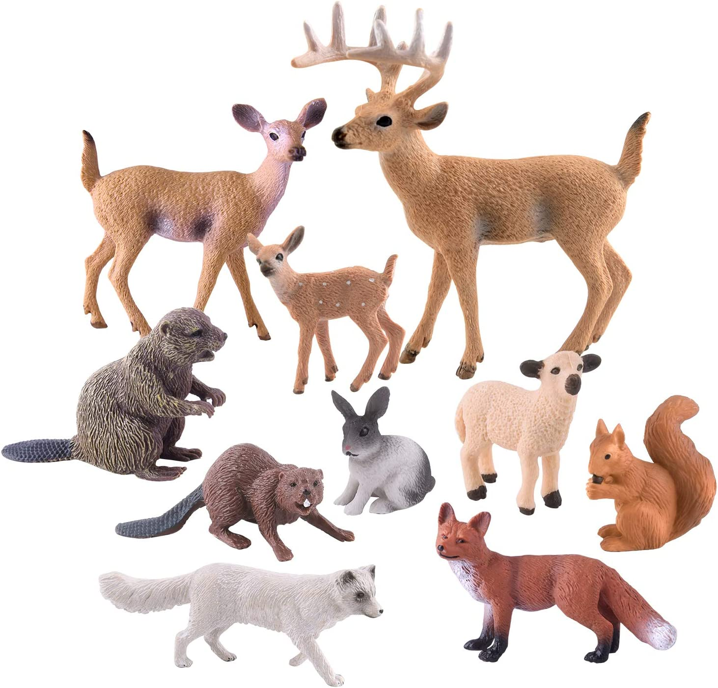 TUPARKA 10 Pcs Forest Animals Figures, Miniature Woodland Creatures Figurines Squirrel, Rabbit, Fox, Sheep, Beaver, Deer Figurines Woodland Cake Topper for Birthday Party, Baby Shower, Christmas Party