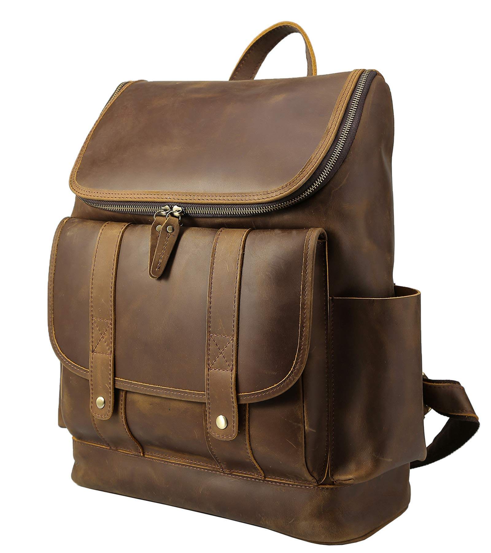 Texbo Vintage Full Grain Cowhide Leather 15.6 Inch Laptop Backpack Briefcase Shoulder Travel School Bag