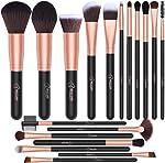 BESTOPE 18 Pcs Makeup Brush Set Premium Synthetic Fan Foundation Powder