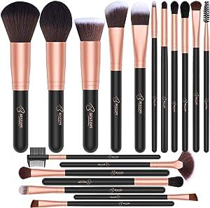 BESTOPE 18 Pcs Makeup Brush Set Premium Synthetic Fan Foundation Powder Kabuki Brushes Concealers Eye Shadows Make Up Brushes Kit
