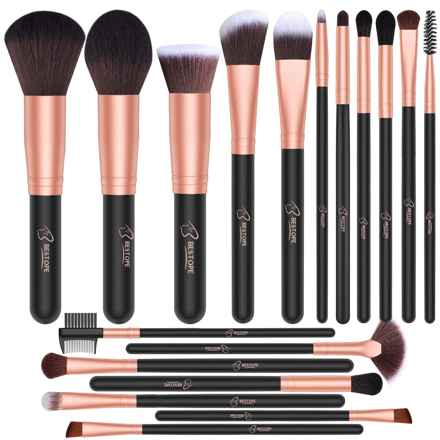 BESTOPE 18 Pcs Makeup Brush Set Premium Synthetic Fan Foundation Powder Kabuki Brushes Concealers Eye Shadows Make Up Brushes Kit: Beauty