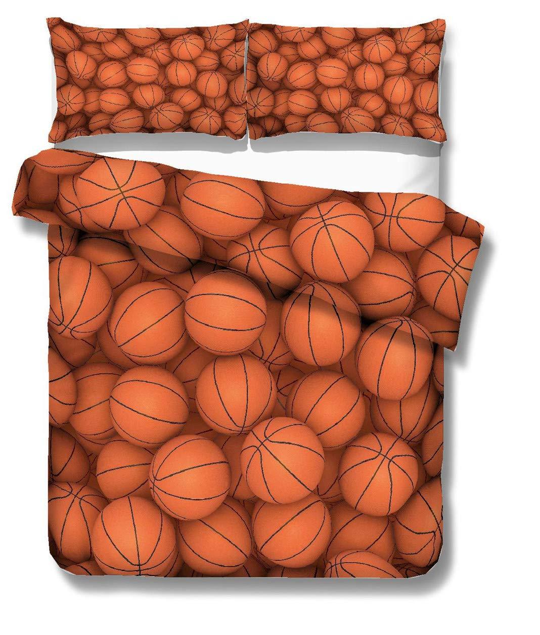 Parure de lit 140x200 Enfant Gar/çon 1 Personne Housse de Couette Sportif Style Basketball Impression Literie Simple Housse de Couette et Taie doreiller