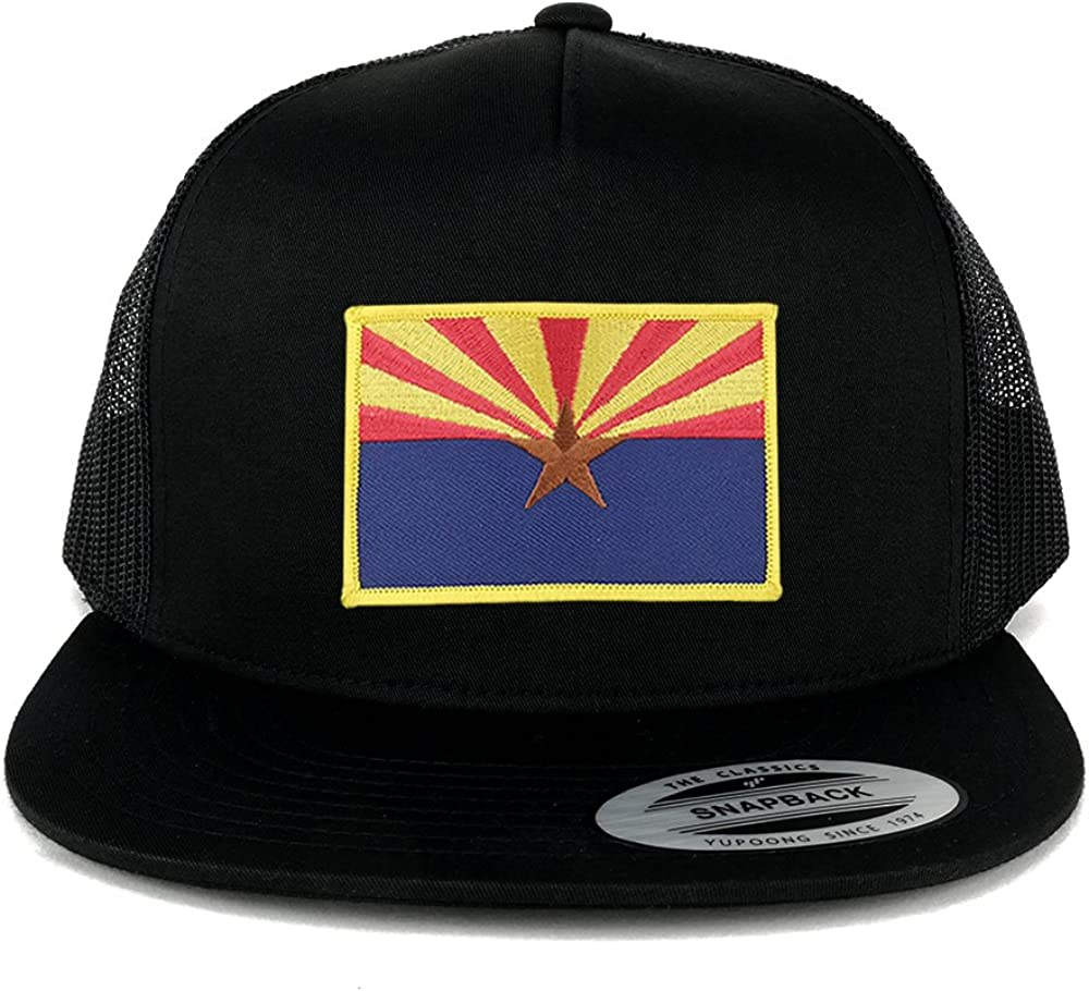Flexfit 5 Panel Arizona Home State Flag Embroidered Patch Snapback Mesh Trucker Cap