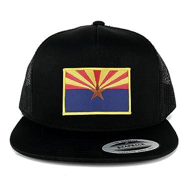 ec1103c3251 FLEXFIT 5 Panel Arizona Home State Flag Embroidered Patch Snapback Mesh  Trucker Cap - BLACK