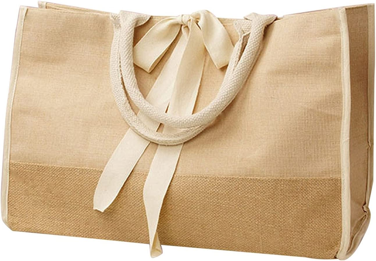 Jute Cotton Blend Tote Bags Daily Use Carry-All with Full Gusset Pack of 3