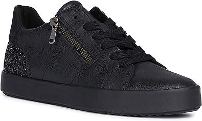 37 M EU Blk 7 US Black CHARC1 Geox Womens Woman Blomiee High 2 Metallic Fashion Sneaker
