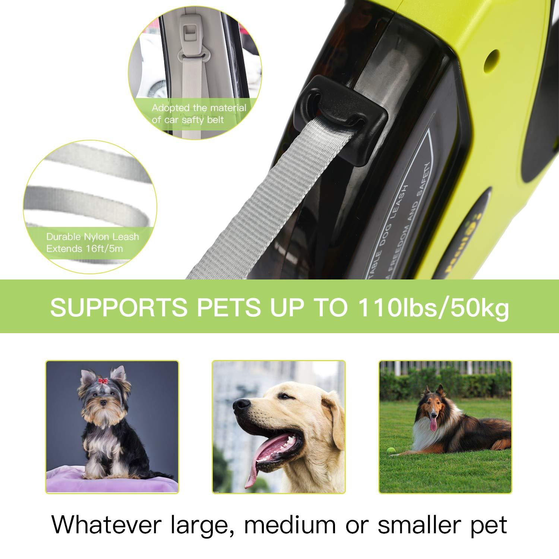 Pecute Guinzaglio per Cani Retrattile 5 Metri, Resistente agli Strattoni, Adatto a Cani con Peso Fino a 50KG