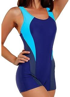FITTOO Damen Vintage Figuroptimizer X-Rücken Einteiliger Sport Badeanzug  mit Bein df04c31bf5
