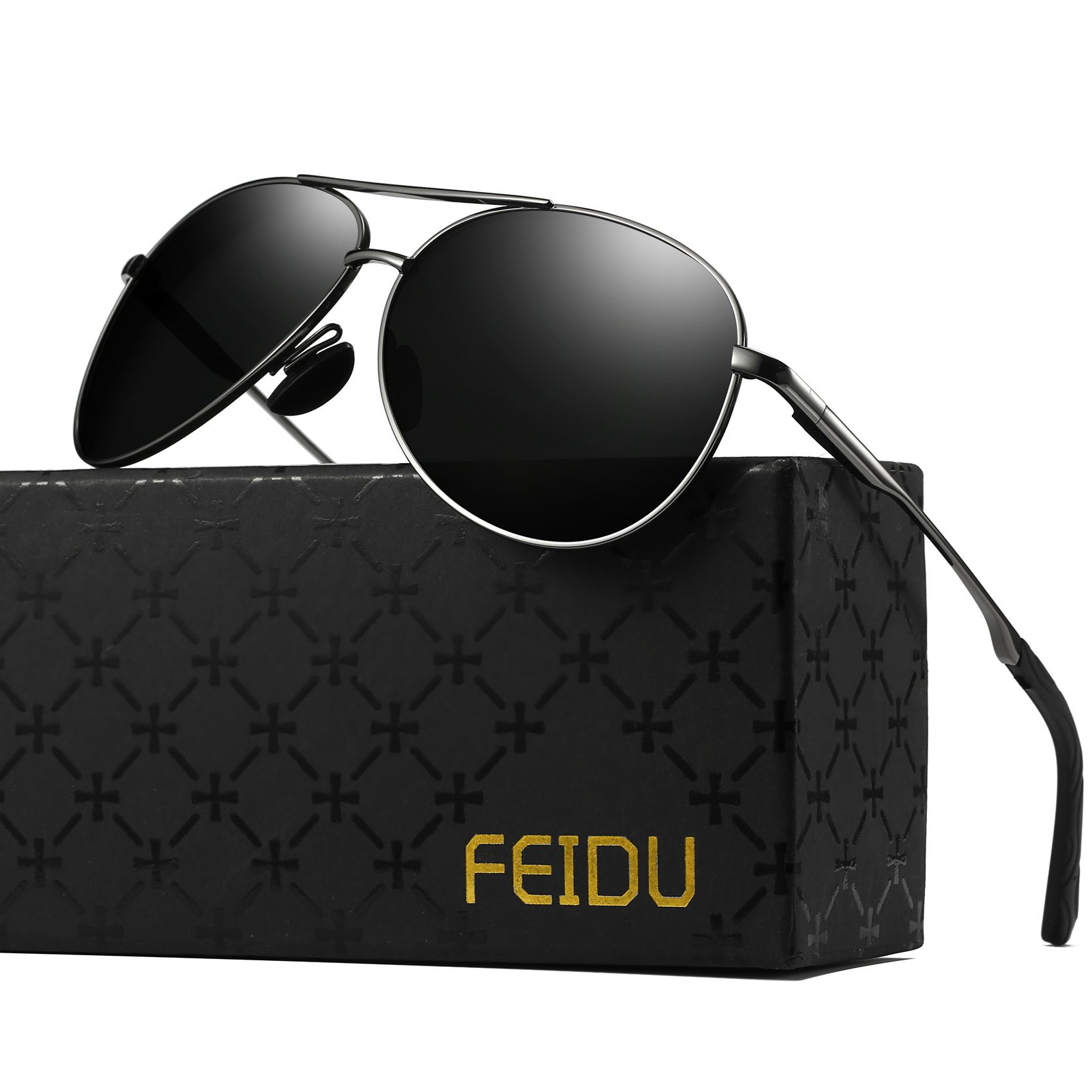 Polarized Aviator Sunglasses for Men - FEIDU Driving Sunglasses Unisex FD9002 (Black/Gun, 2.28) by FEIDU