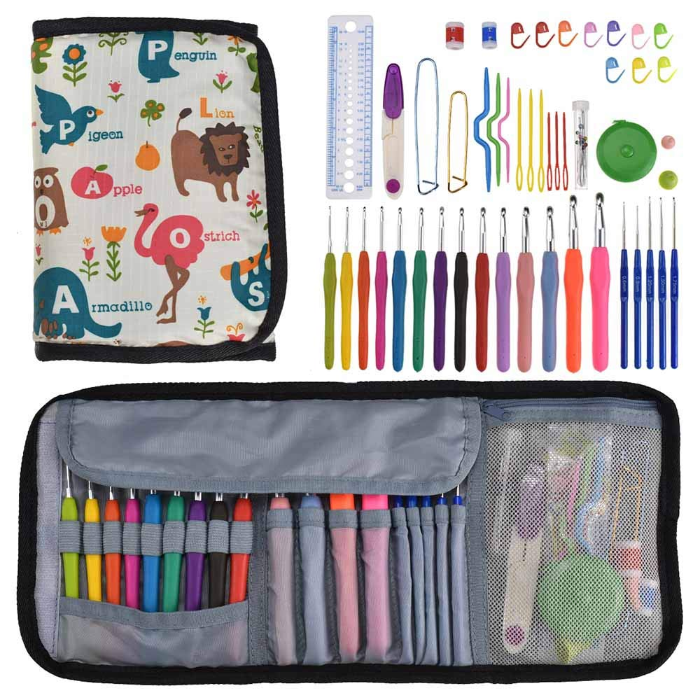 Alapaste 49 Pieces Crochet Hook Set Ergonomic Soft Handles Aluminum Blunt Needles kit with Portable Case Gifts for Mom Big Crocheting Project