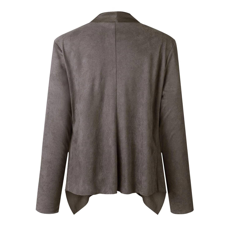 Asrlet Womens Solid Color Waterfall Cardigan Blazer Coat OL Slim Long Sleeve Open Front Jacket