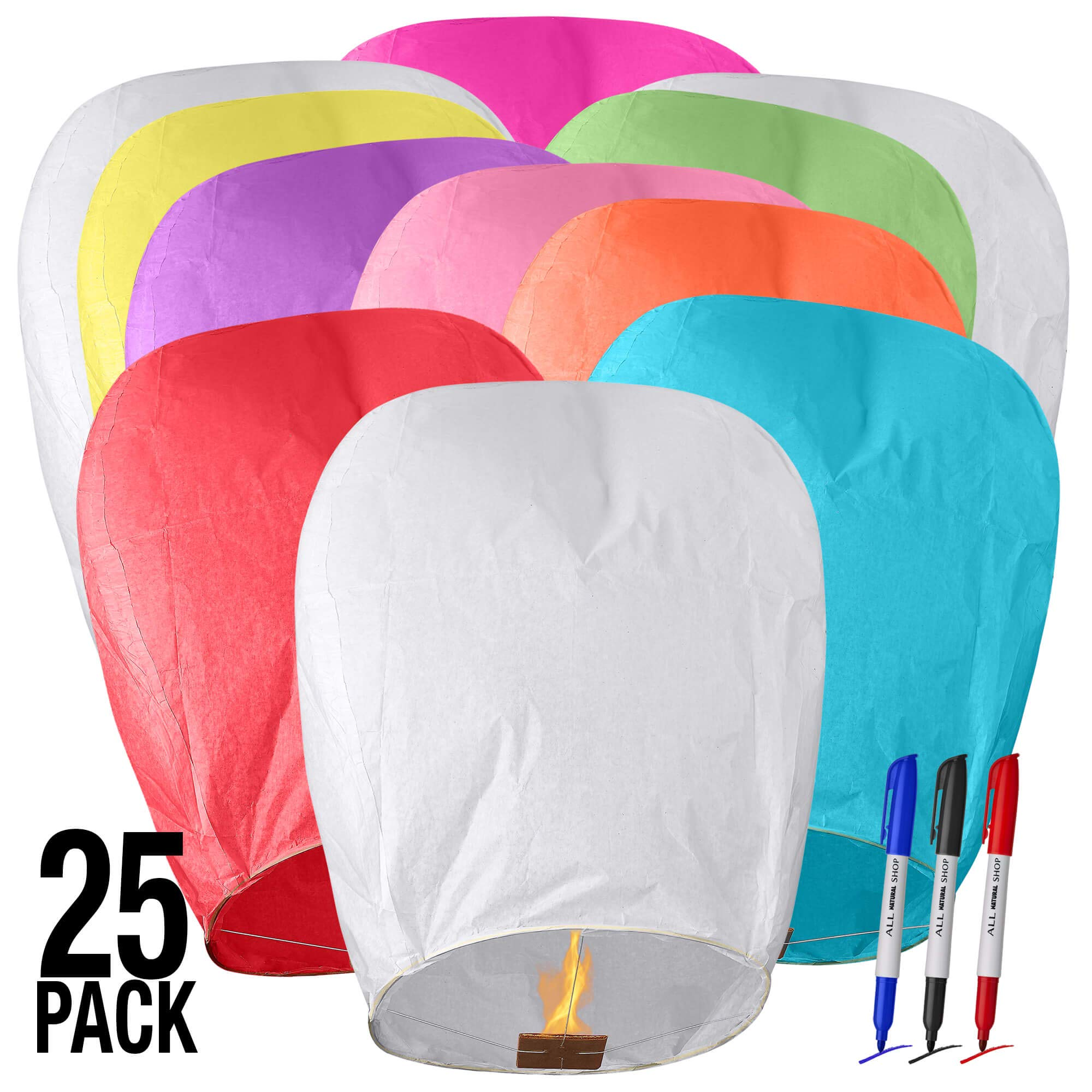 All Natural Shop 25 Pack Chinese Sky Lanterns - Color, Eco Friendly, 100% Biodegradable. Wire-Free Paper Japanese Prime Paper Sky Lantern To Release In Sky.