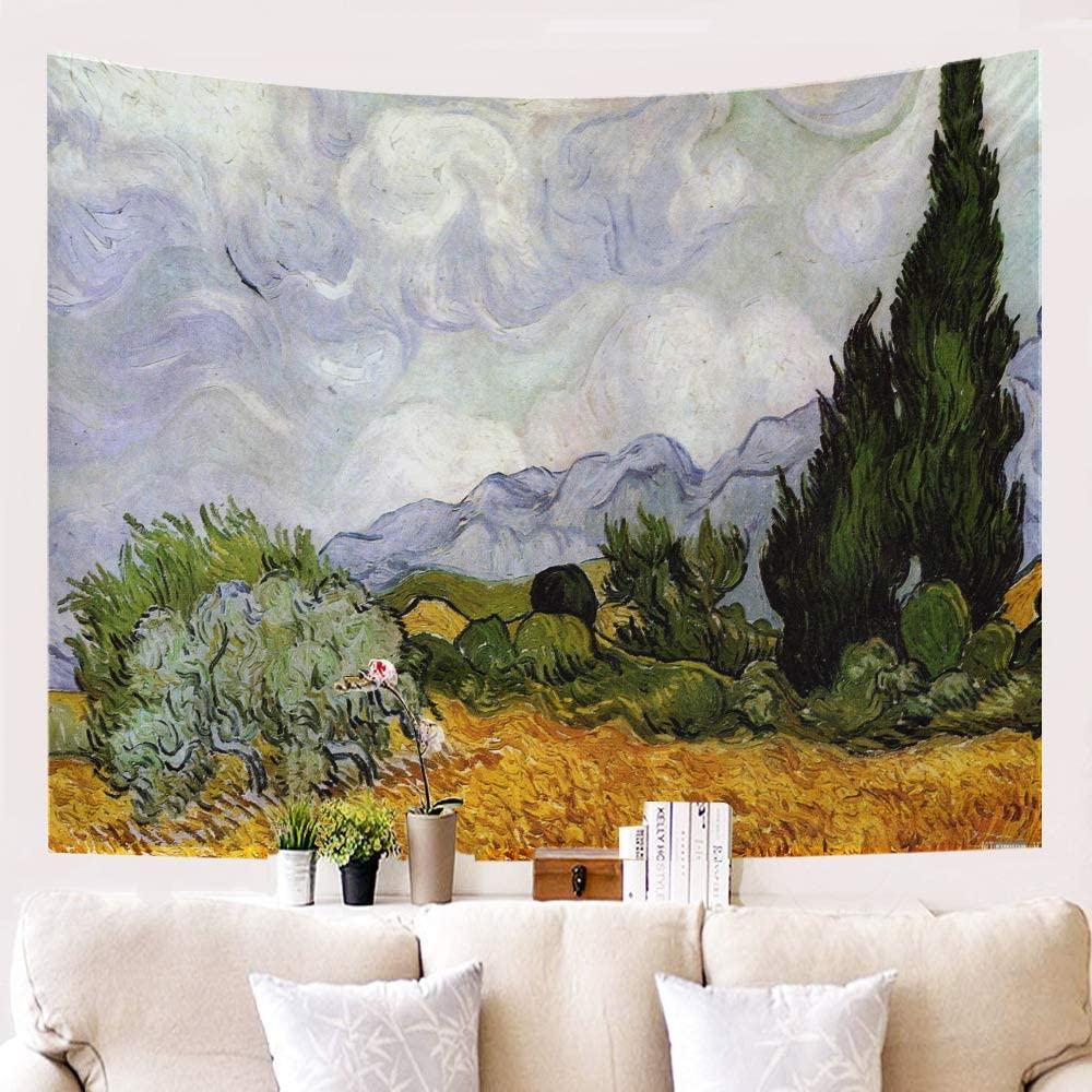 ZHENQI Serie de Pintura al óleo Tapiz Decorativo, Lona, Tela de Fondo, Tapiz, Manta de decoración de Pared c1209-g14 1.5-2.3m