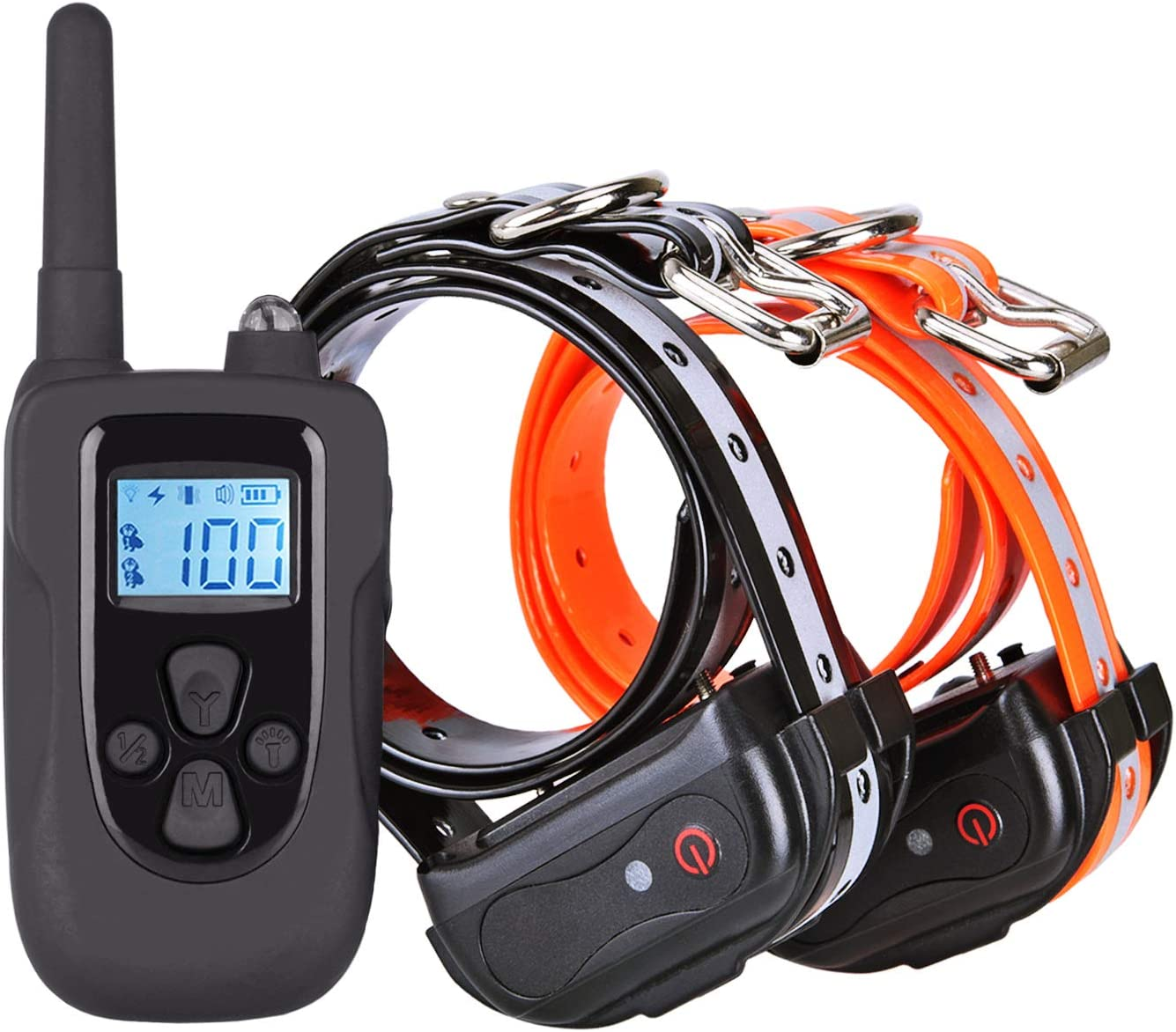 ETPET Shock Collar with Beep Vibrating and Shock for 2 Dogs- Remote Controlled Dog Training Collar 1000 ft Range-Rechargeable and Waterproof Electronic Reflective Collar for Dogs 10Lbs-100Lbs