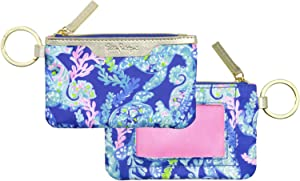 Lilly Pulitzer ID Case Keychain Wallet with Zip Close, Cute Durable Card Holder for Women Teen Girls, Turtle Villa