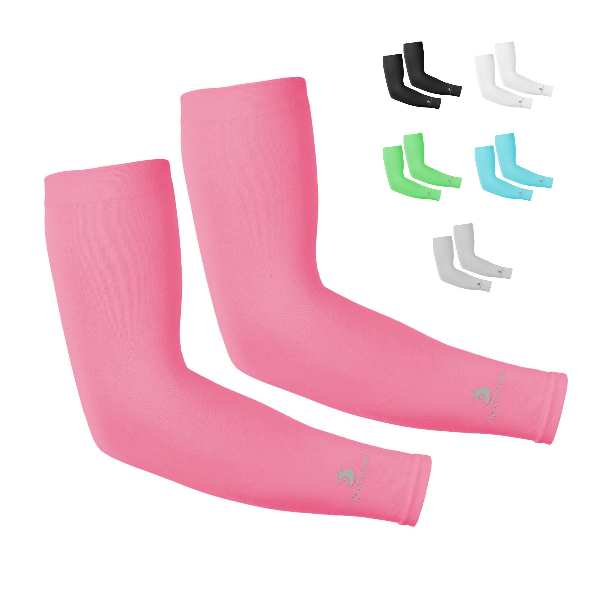 SportsTrail Arm Sleeves for Men & Women, Tatoo Cover up Sleeves to Cover Arms, 1 Pair (Pink)