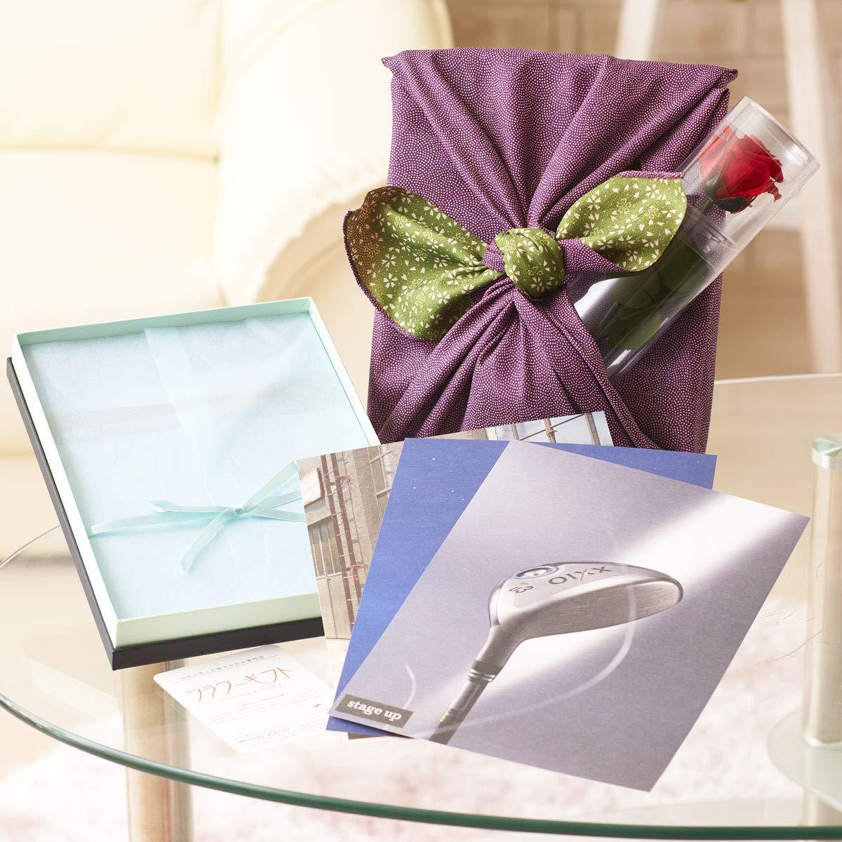 花とギフトのセット ステムローズと高級カタログギフト(ステージアップ/ポールシャーナン)風呂敷(紫/グリーン) B07PC1VV87