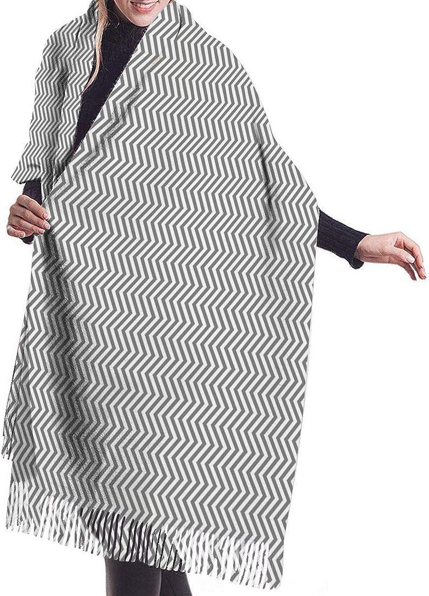 Chevron Cashmere Feel Scarves with Tassels for Men Women