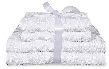 Juego de toallas de lujo de 4 piezas para baño y de mano, de 100 % algodón, suave y cómodas: Amazon.es: Hogar