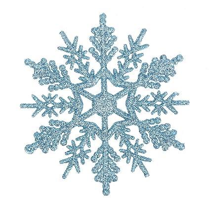 Foto Fiocchi Di Natale.Demiawaking 24pcs Fiocchi Di Neve Decorazione Dell Albero Di Natale 10cm Fiocco Di Neve Di Glitter Di Plastica Ornamenti Festivi Festa Party