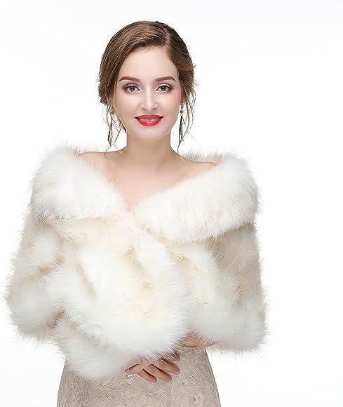 Women Wedding Faux Fur Shawl Stole Wrap Formal Daily Shrug Winter Warm Scarves x