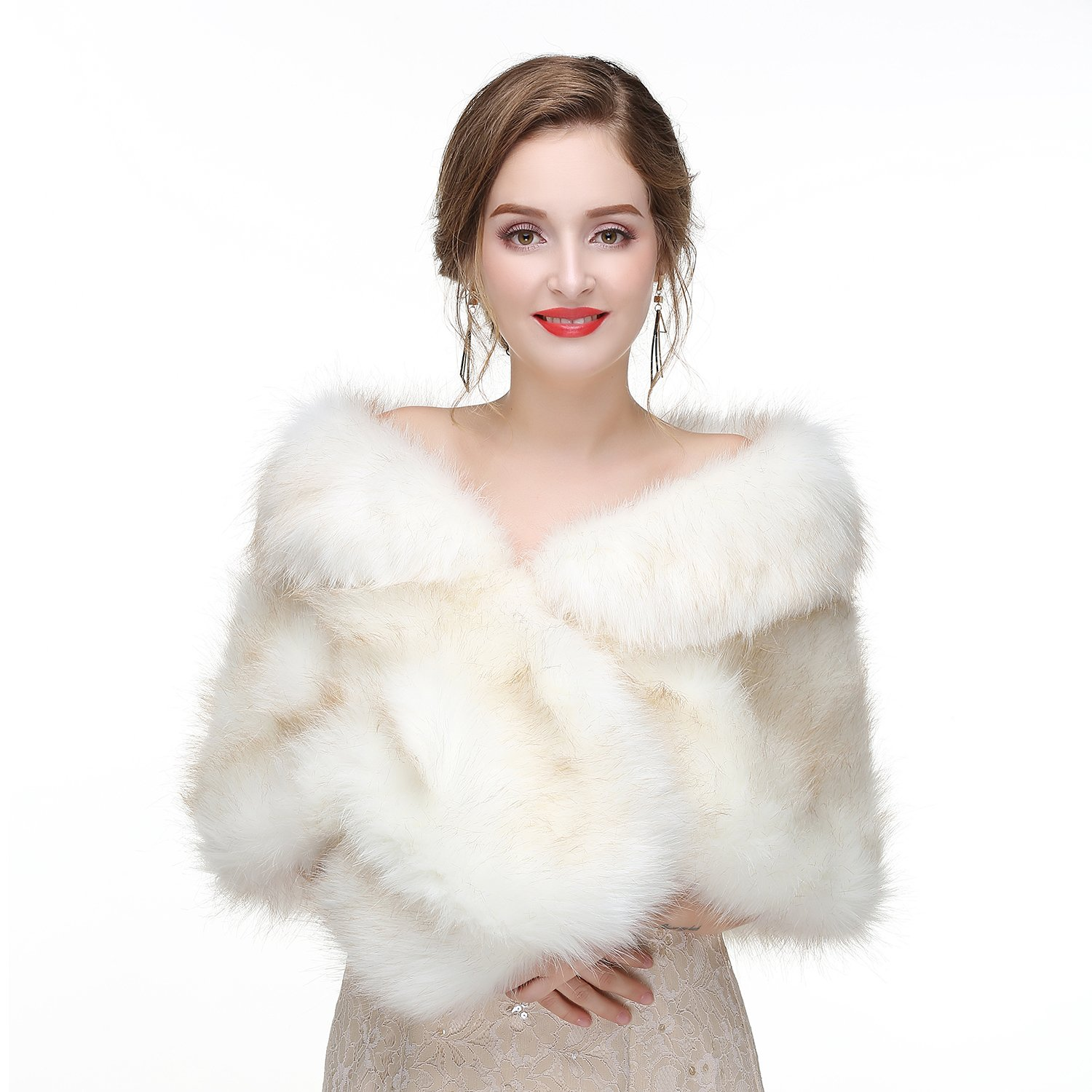 Decahome Faux Fur Shawl Wrap Stole Shrug Winter Bridal Wedding Cover Up White Fox Fur 35