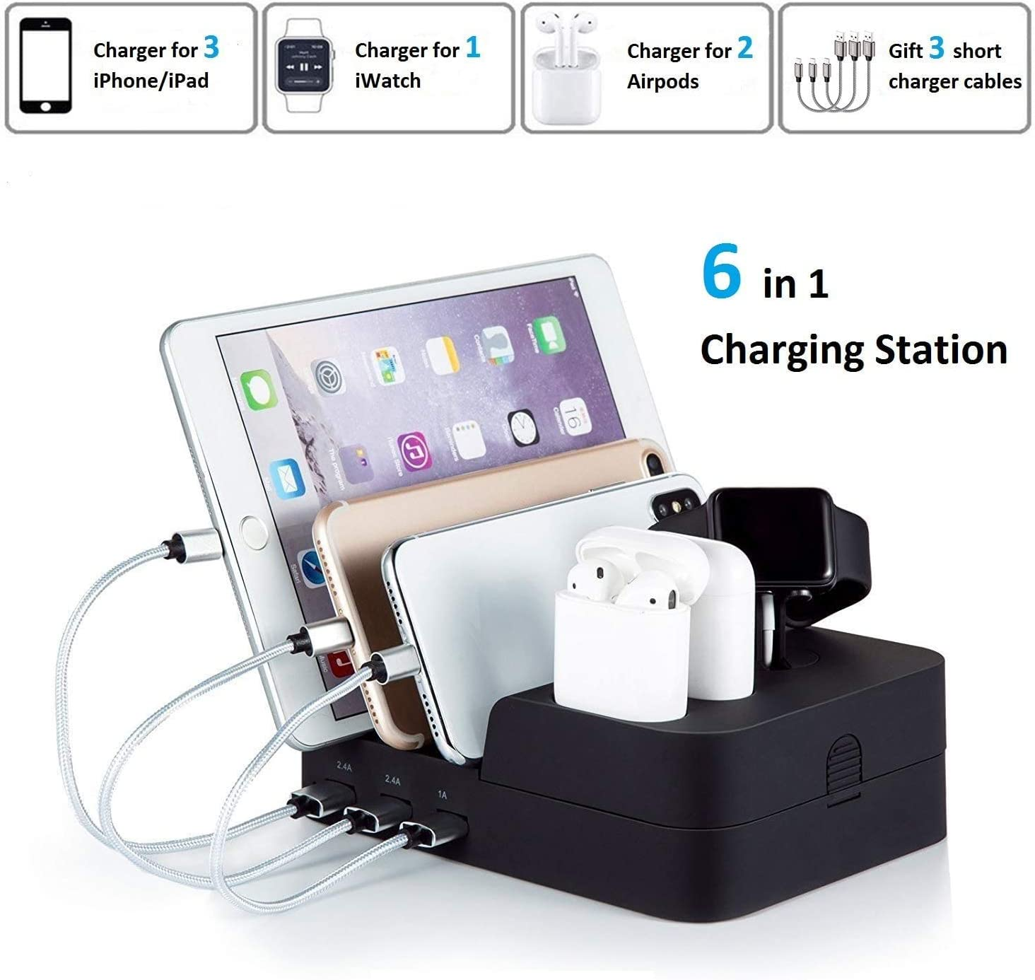 Iootmoy 6 Port USB Charging Station Multi Device USB Charging Dock Station HUB Desktop Charger Stand Organizer Compatible for iPhone ipad Airpods iwatch Kindle Tablet Multiple Devices