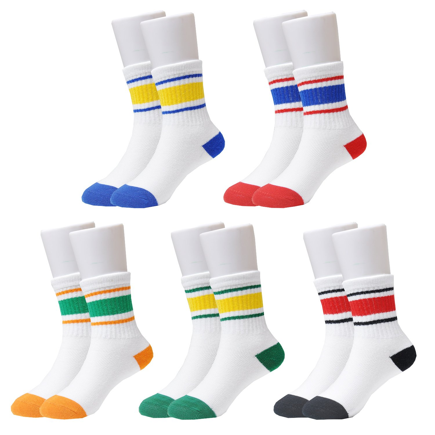 Epeius Kids Boys' Stripes Pattern Cotton Crew Socks 5/6 Pair Pack