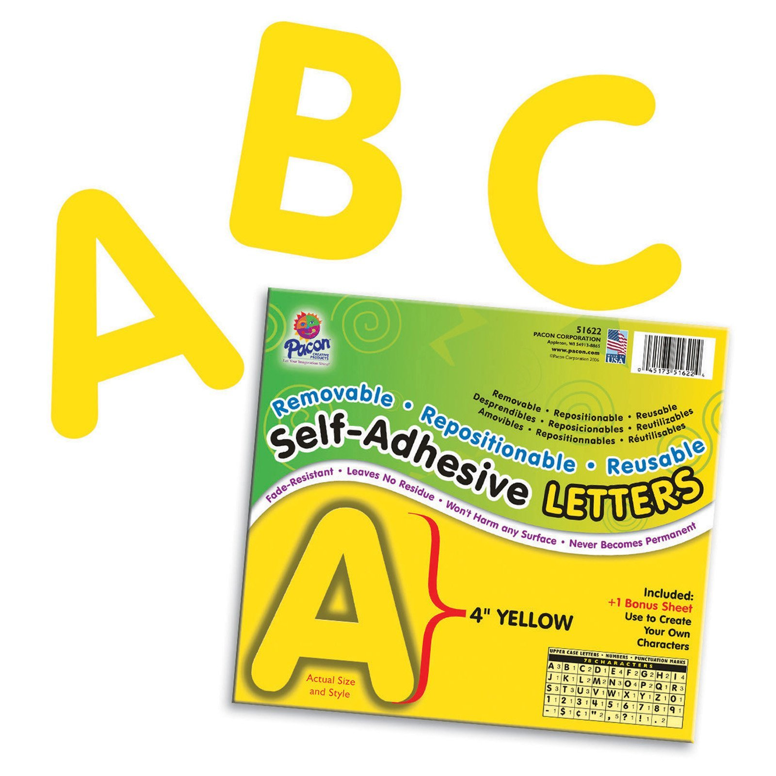 Pacon PAC51622BN Self-Adhesive Letters, Yellow, Puffy Font, 4'', 78 Characters Per Pack, 2 Packs by Pacon