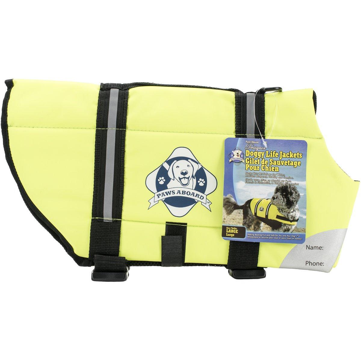 Paws Aboard 1500 Designer Doggy Life Jacket, Neon Yellow, Large