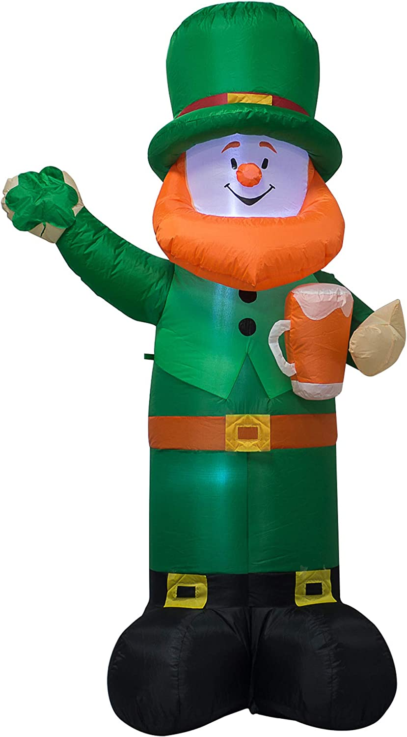 AJY 6 Feet St Patricks Day Inflatable Leprechaun Holding Shamrock and Beer Blow Up Indoor Outdoor Yard Lawn Decoration