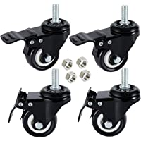 DICASAL 4 Pack 1.5 Inch Swivel Stem Casters, Non-Marking Polyurethane Wheels 330 Lbs with Diameter 3/8