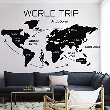 Amazon world travel map wall decal removable map decal vinyl world travel map wall decal removable map decal vinyl map wall decor world map wall sticker gumiabroncs Gallery