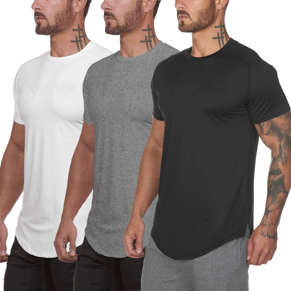 Muscle Killer 3 Pack Men's Gym Workout Bodybuilding Fitness Active Athletic T-Shirts Workout Casual Tee: Clothing