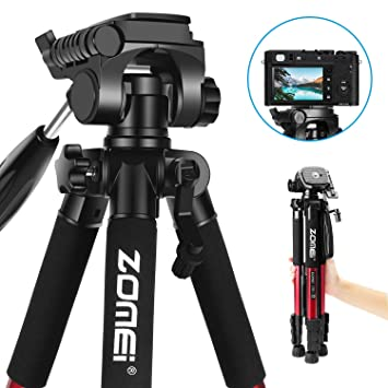 Trípode Portátil - ZOMEi Z666 Profesional Trípode de Viaje de Aluminio con Bolsa para cámara y videocámara 140cm Rojo