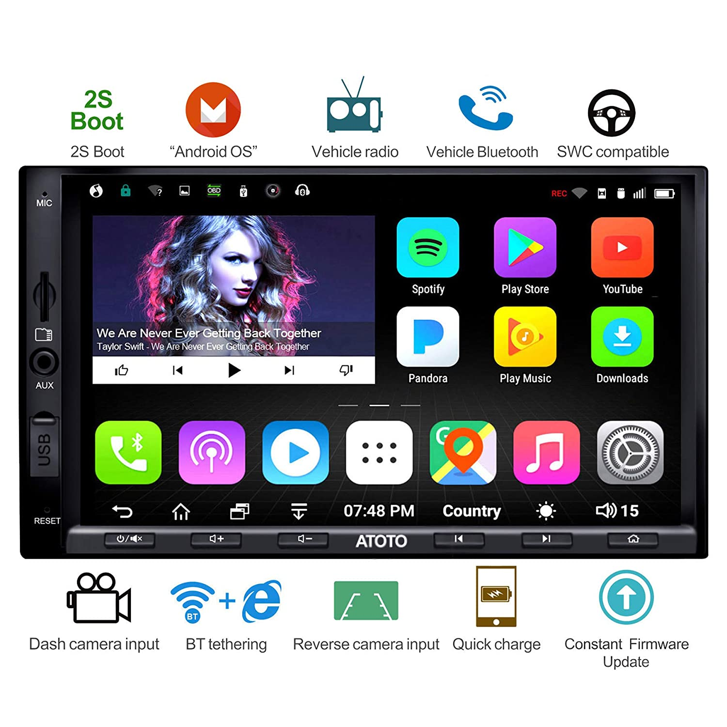 ATOTO A6 Android Car Navigation Stereo w/Dual Bluetooth & Quick Charge -  Premium A6Y2721PB 2G/32G Universal Auto Entertainment Multimedia