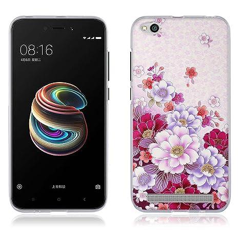 FUBAODA Fundas Carcasas para Xiaomi Redmi 5a, Gel de Silicona TPU Carcasas Flores en Profusión, Carcasa Protectora de Goma Xiaomi Redmi 5a (5.0