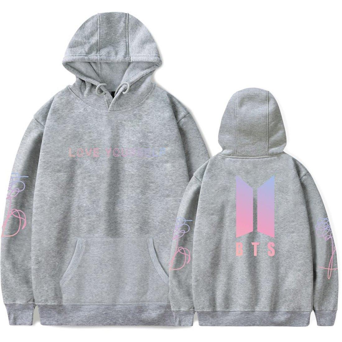 EMILYLE Donna Love Yourself Felpa con Cappuccio Bangtan Boys BTS KPOP Fans Unisex Hoodie Moda Sportiva Sweatshirt