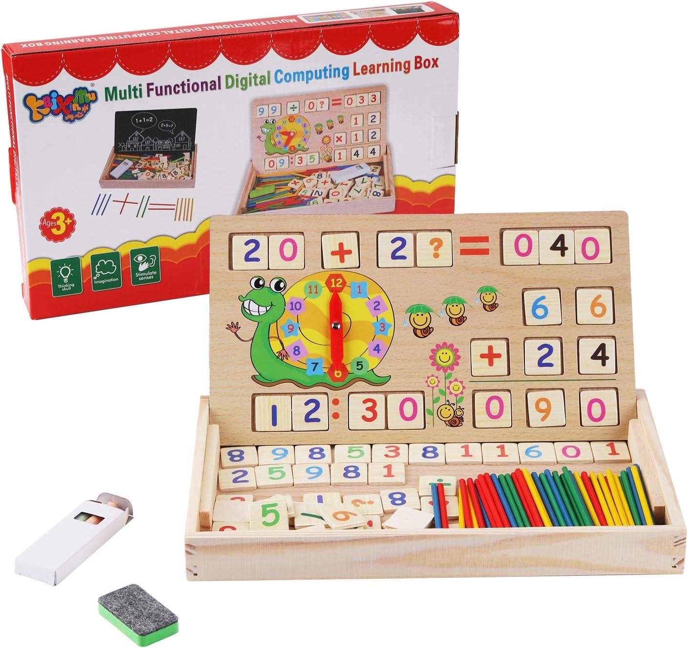 BBBLIKE Juguete de Matemáticas, Juguetes Educativos Montessori Madera Relojes de Enseñanza Pizarra de Graffiti de Madera Juguetes de Madera para Bebes 3 4 5 6 años