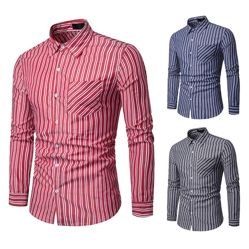Sunmoot Mens Striped Shirts Long Sleeve Button Lapel Casual Slim Fit Top Blouse with Pocket