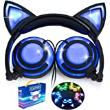 iGeeKid [Upgraded Version]Cat Ear Kids Headphones Rechargeable LED Light Up Foldable Over Ear Headphones Headsets for Girls Boys,Compatible for iPad,Kids Tablet,Kids Wearable Musical Device(New Black)