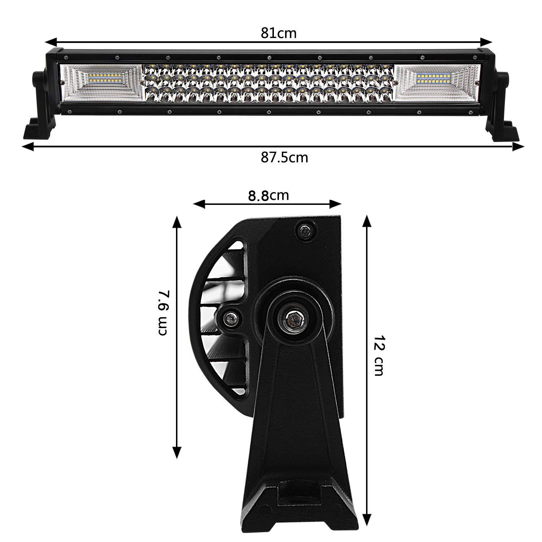 Willpower 42 pouces 540W LED Barre de lumi/ère Triple rang/ée Barre de lumi/ère de travail Super Bright Spot Combo conduite hors route lampes avec kit faisceau de c/âblage pour camion ATV UTV SUV