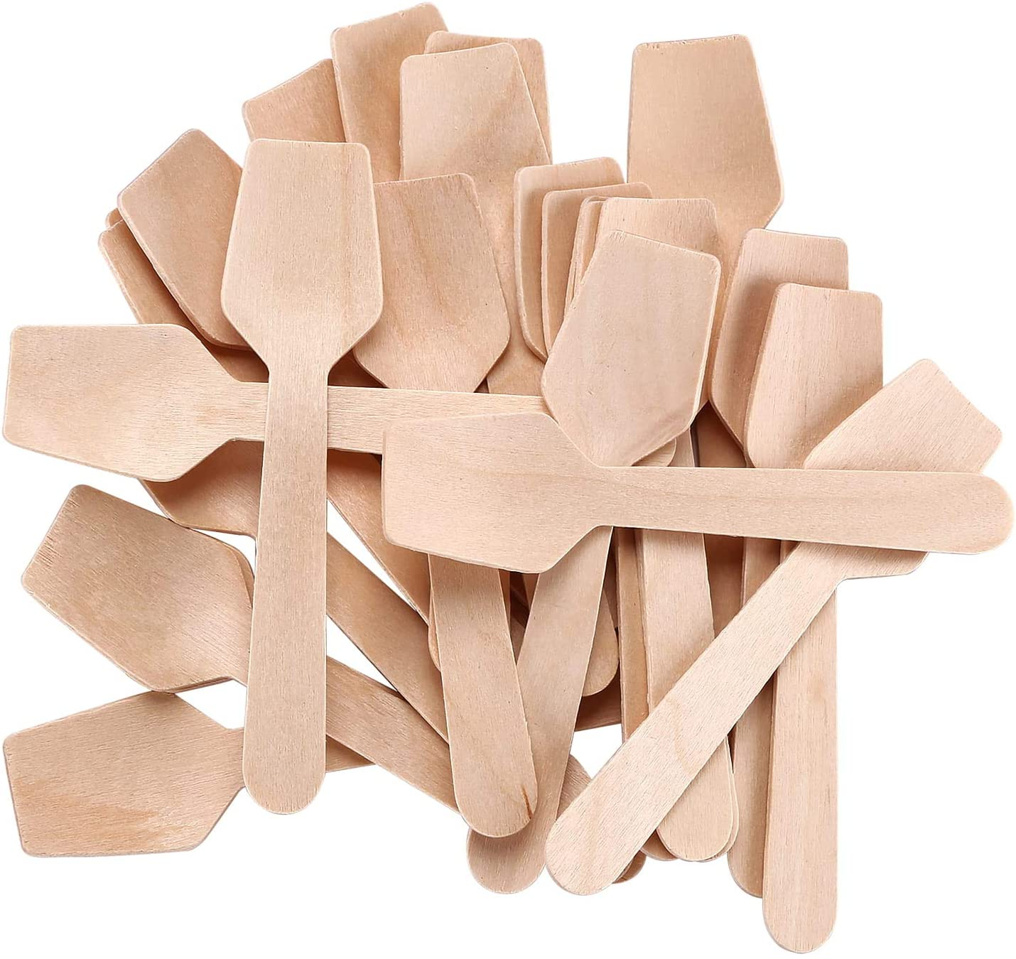 """Gmark 3-3/4"""" Mini Wooden Spoons Pack of 100, Disposable Square End Tasting Spoon, Sampling Yogurt Spoon Ice Cream Spoon, Biodegradable Compostable Birchwood GM1101A"""