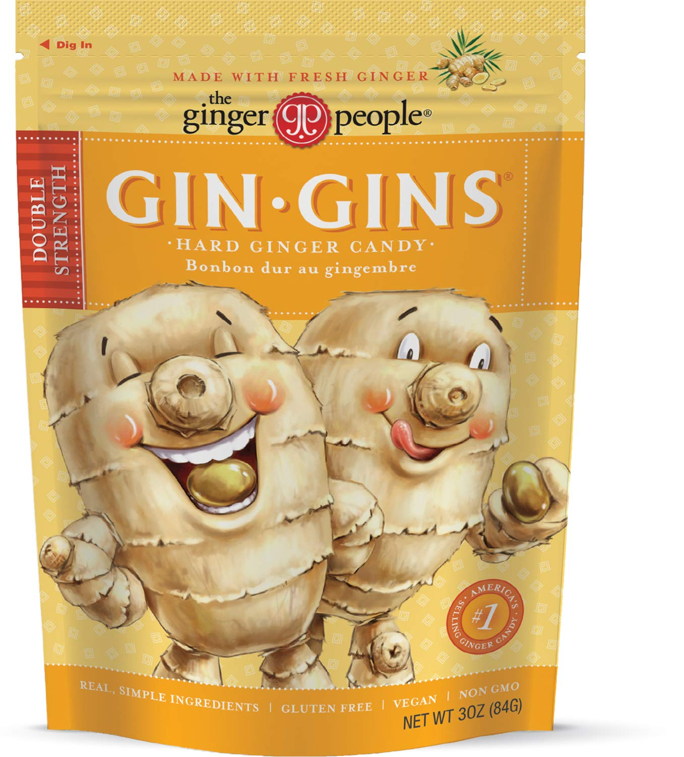 The Ginger People Gins Double Strength Hard Candy, 3 Ounce (Pack of 12) by The Ginger People