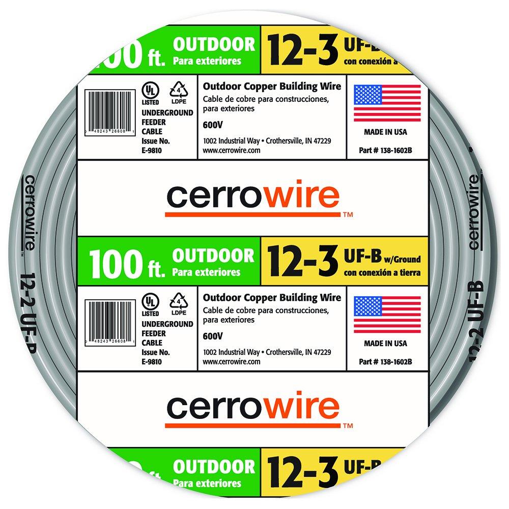 Cerrowire 138-1603CR-2 138-1603CR 12-3 UF Wire, 100-Foot,