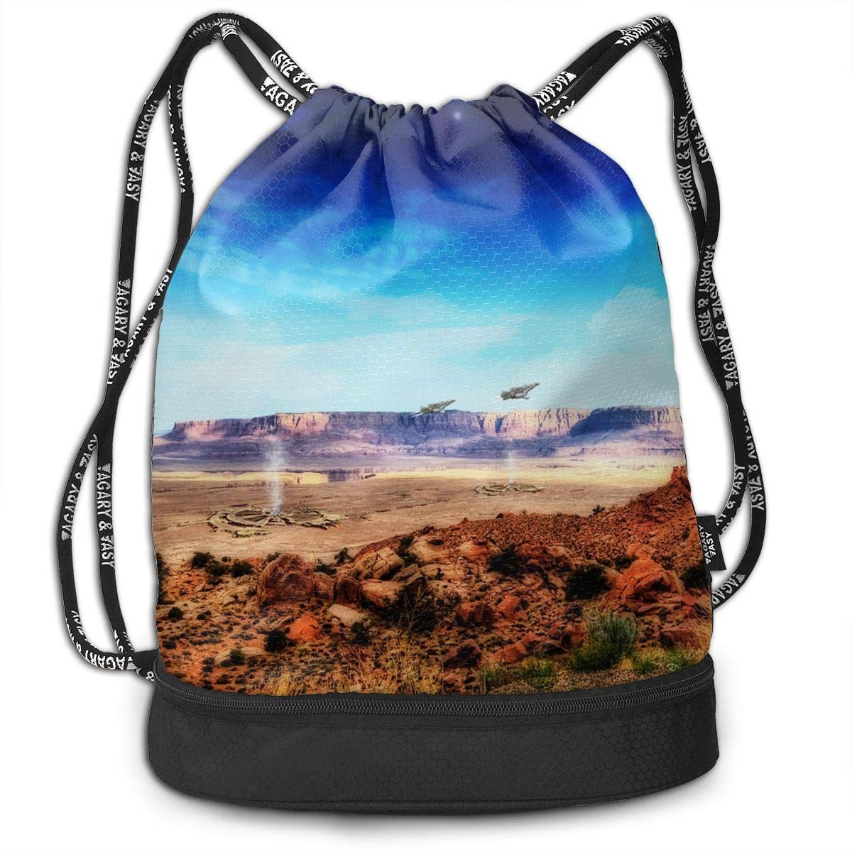 Gymsack Fantasy Landscape Print Drawstring Bags - Simple Gym Shoulder Bags
