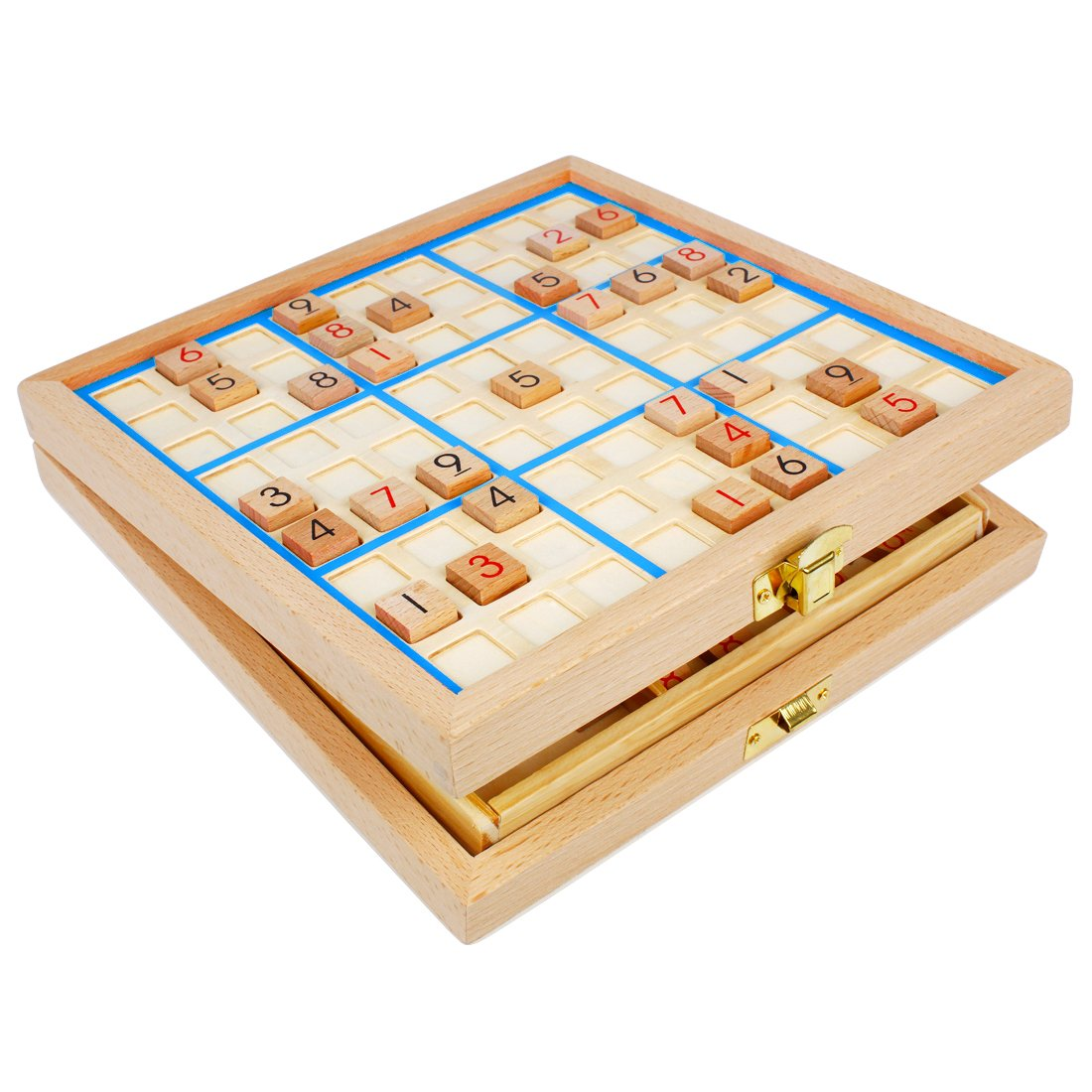 Andux Land Sudoku Board Box 3-in-1 Wooden Number Place Toy SD-03 (Blue) by Andux