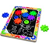 Melissa & Doug Switch and Spin Magnetic Gear Board - Educational Toy With 8 Gears and 5 Double-Sided Designs