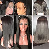 Axin Moon Hair 360 Lace Frontal Wigs with Baby Hair 180%-250% Density Brazilian Virgin Straight Hair Pre Plucked 360 Lace Wig Glueless Human Hair Wigs(12inch with 180 density,Free Part)